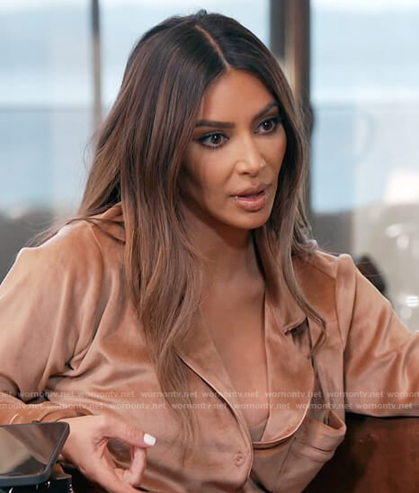 Kim's velour beige blouse on Keeping Up with the Kardashians