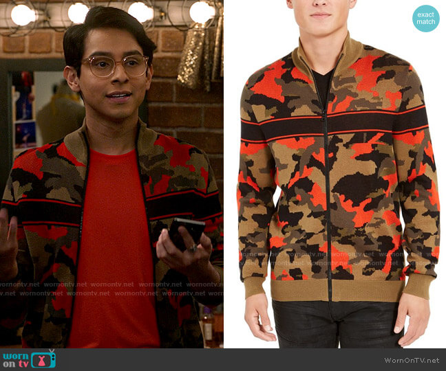 INC International Concepts Zip-Front Camo Sweater worn by Carlos Rodriguez (Frankie A. Rodriguez) on High School Musical The Musical The Series