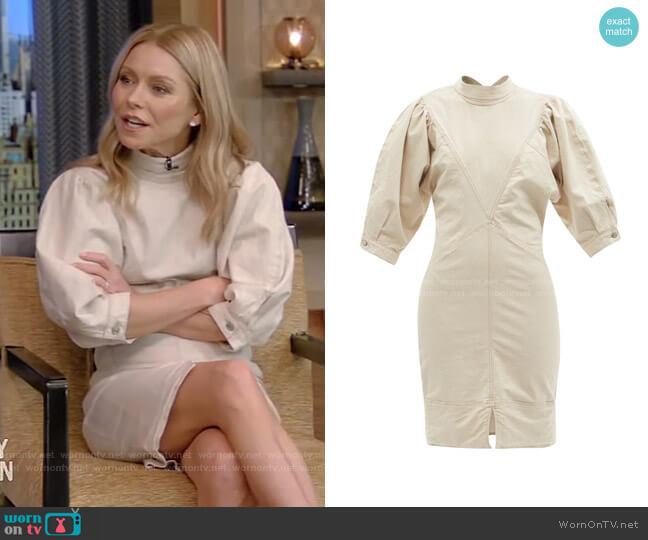 Laure Puff-Sleeve Denim Midi Dress by Isabel Marant Etoile worn by Kelly Ripa  on Live with Kelly & Ryan