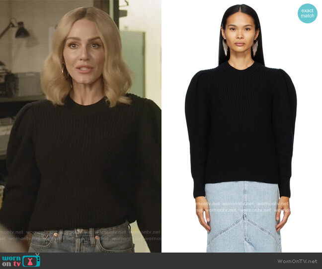 Black Wool & Cashmere Robin Puff Sleeve Sweater by Isabel Marant worn by Laura Baker (Monet Mazur) on All American