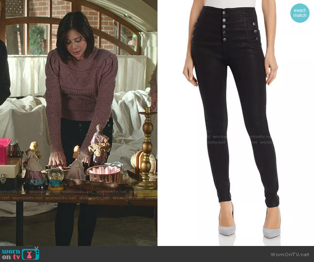 Natasha Button-Fly Coated Skinny Jeans by J Brand worn by Cassandra Nightingale (Catherine Bell) on Good Witch