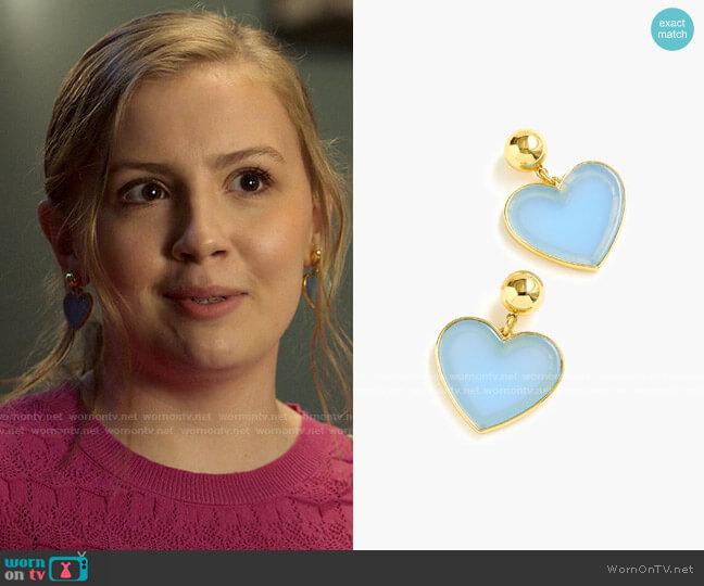 J. Crew Heart Drop Earrings In Acetate worn by Lake Meriwether (Bebe Wood) on Love Victor