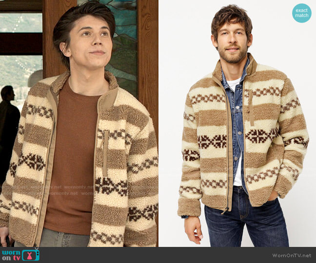 J. Crew Nordic Sherpa Jacket worn by Felix Weston (Anthony Turpel) on Love Victor