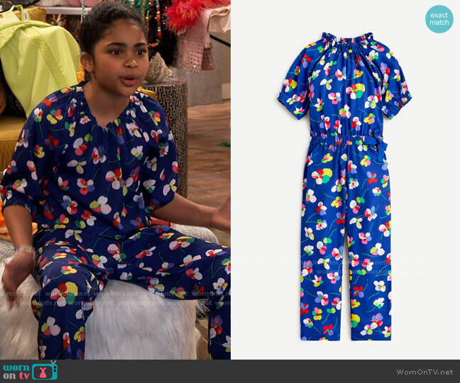 J. Crew Girls' ruffle-neck jumpsuit in blue floral worn by Millicent (Jaidyn Triplett) on iCarly