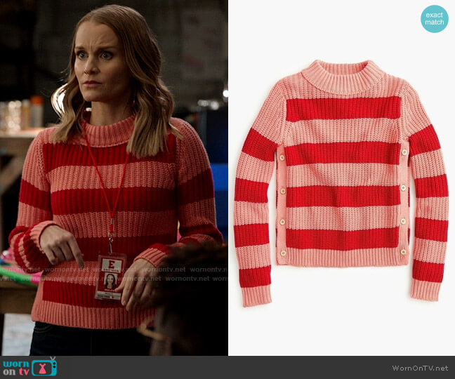 The Reeds x J. Crew Rugby Stripe Sweater worn by Miss Jenn (Kate Reinders) on High School Musical The Musical The Series