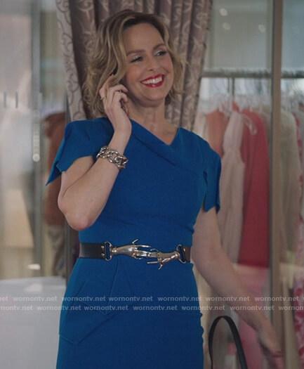 Jacqueline's blue panel cap sleeve dress on The Bold Type
