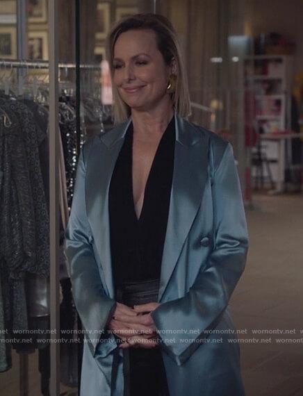 Jacqueline's blue satin dress on The Bold Type