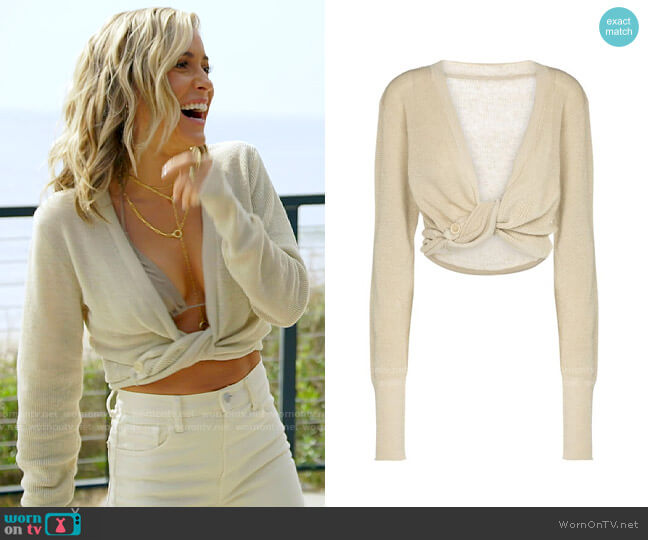 Jacquemus Le Gilet Noue Twisted Linen Blend Crop Cardigan worn by Kristin Cavallari on The Hills New Beginnings