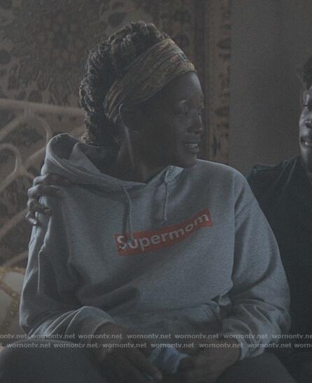 Jada's gray supermom hoodie on The Chi