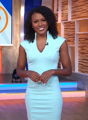 Janai's light blue v-neck sheath dress on Good Morning America