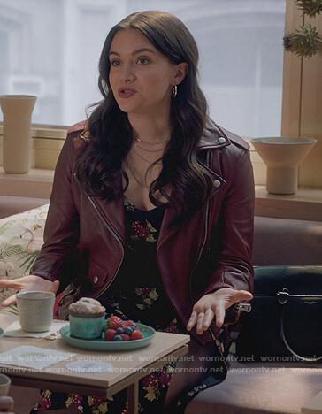 Jane's black grape print dress on The Bold Type