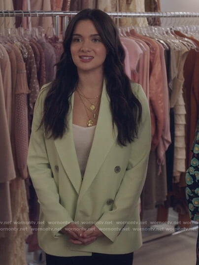 Jane's light green double breasted blazer on The Bold Type
