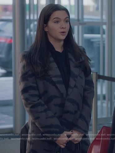Jane's gray tiger stripe coat on The Bold Type