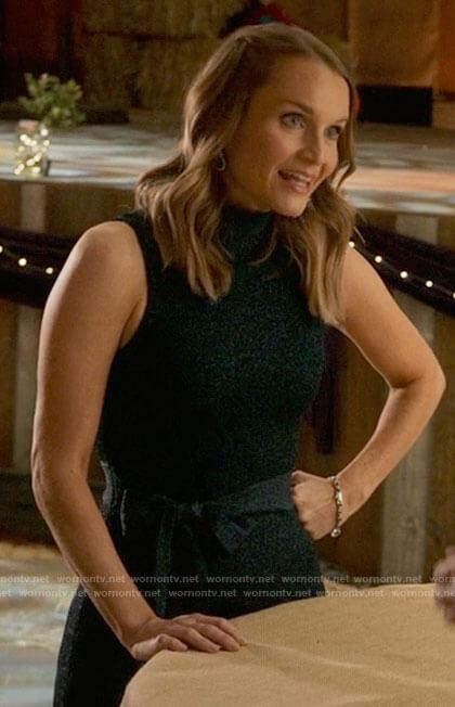 Miss Jenn's metallic teal sleeveless dress on High School Musical The Musical The Series