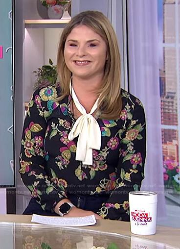 Jenna's black floral tie neck blouse on Today
