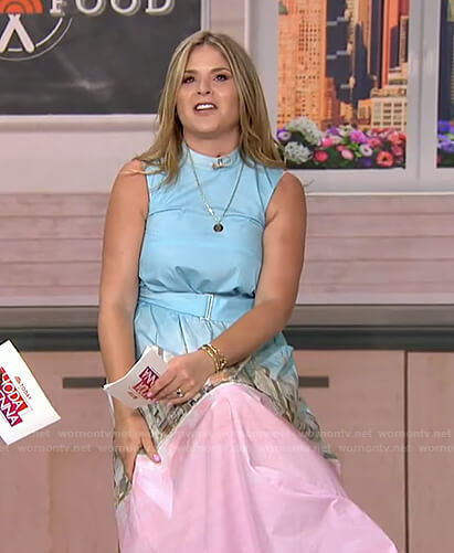 Jenna's blue and pink printed belted dress on Today