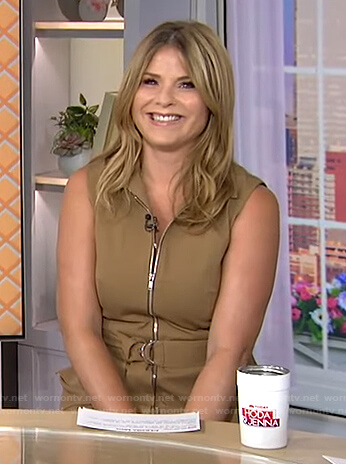 Jenna's brown belted sleeveless dress on Today