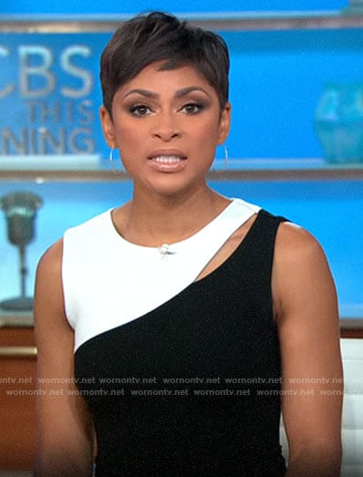Jericka Duncan's black and white dress on CBS This Morning