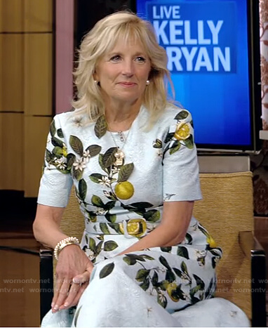 Jill Biden's blue lemon print dress on Live with Kelly and Ryan
