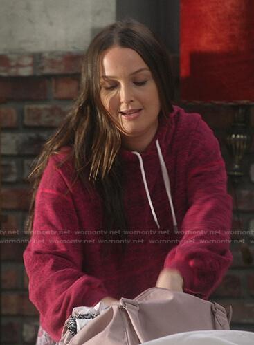 Jo's red space dye hoodie on Greys Anatomy