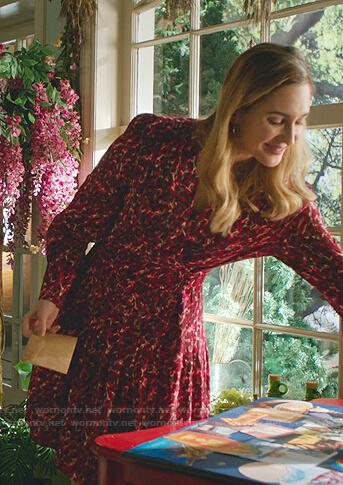 Joy's red leopard wrap dress on Good Witch