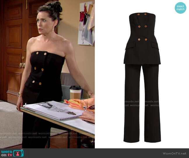 Jonathan Simkhai Essie Strapless Double Breasted Jumpsuit worn by Quinn Fuller (Rena Sofer) on The Bold & the Beautiful