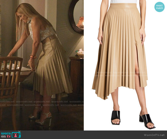 Jayla Vegan Leather Pleated Skirt by Jonathan Simkhai worn by Dominique Deveraux (Michael Michele) on Dynasty