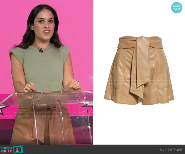 Mari Tie Waist Faux Leather Shorts by Jonathan Simkhai worn by Donna Farizan  on Today