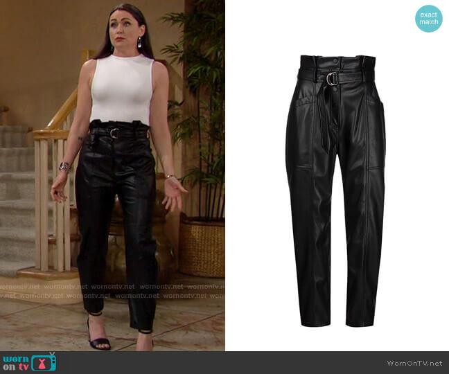 Jonathan Simkhai Leela vegan leather paperbag trousers worn by Quinn Fuller (Rena Sofer) on The Bold & the Beautiful