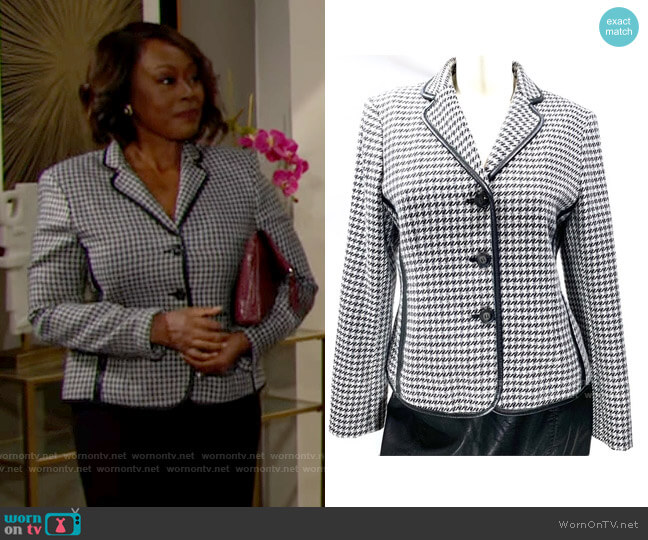 Jones New York Leather Trimmed Houndstooth Blazer worn by Naya Benedict (Ptosha Storey) on The Young & the Restless