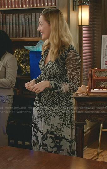 Joy's black floral wrap dress on Good Witch