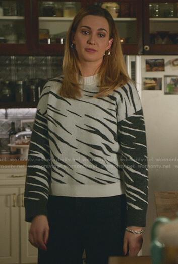 Joy's zebra colorblock sweater on Good Witch