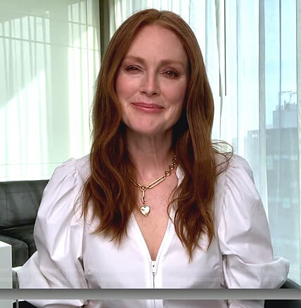 Julianne Moore's white zip front blouse on Today