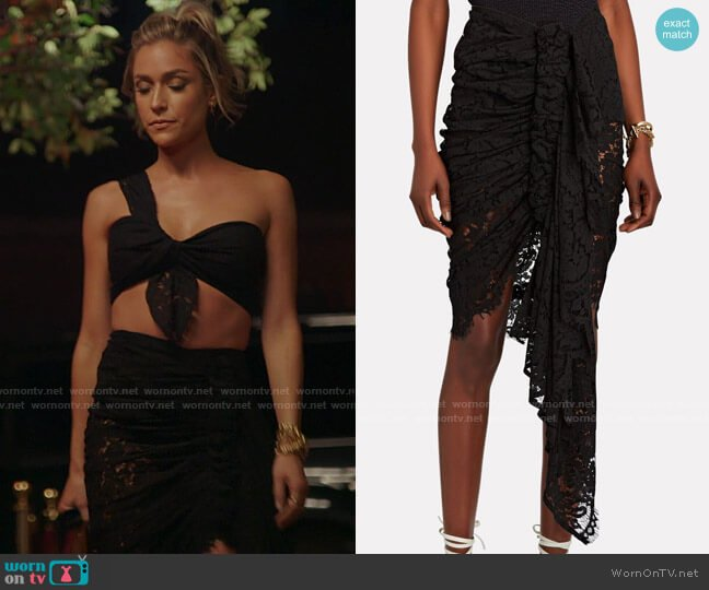Just Bee Queen Tulum Ruched High-Low Skirt worn by Kristin Cavallari on The Hills New Beginnings