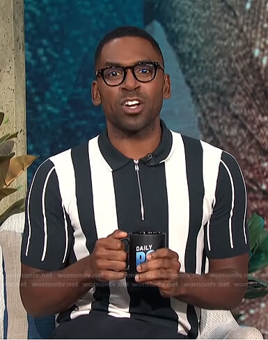 Justin's striped zip polo shirt on E! News Daily Pop
