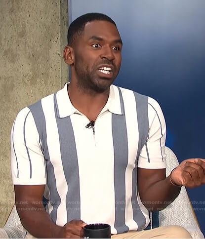 Justin's white and grey striped polo shirt on E! News Daily Pop