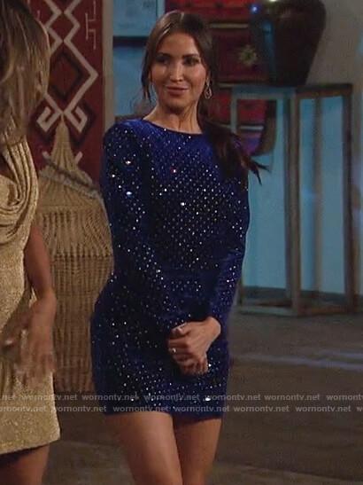 Kaitlyn Bristowe's blue velvet embellished dress on The Bachelorette