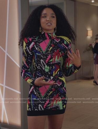 Kat's black printed turtleneck dress on The Bold Type