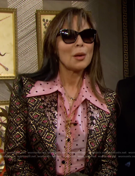 Kate's pink polka dot blouse and metallic blazer on Days of our Lives