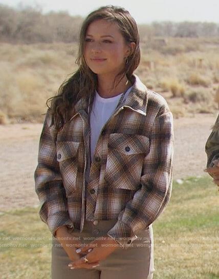 Katie's brown plaid jacket and khaki pants on The Bachelorette