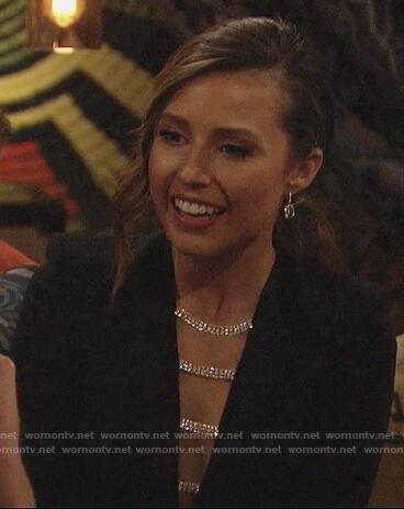 Katie's black embellished neckline mini dress on The Bachelorette