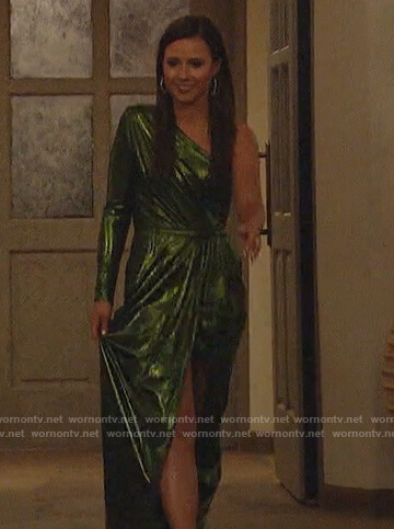 Katie's green metallic one shoulder gown on The Bachelorette