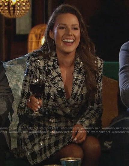 Katie's plaid embellished blazer dress on The Bachelorette