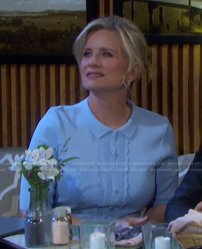 Kayla's blue scalloped polo dress on Days of our Lives