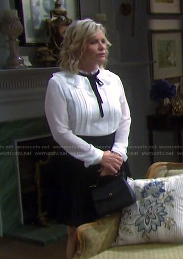 Kayla's white ruffle tie neck blouse and skirt on Days of our Lives