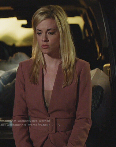 Kelly Anne's pink belted blazer on Queen of the South