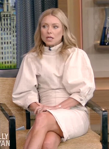Kelly's white puff sleeve mini dress on Live with Kelly and Ryan