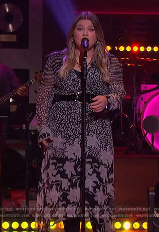 Kelly's floral print wrap dress on The Kelly Clarkson Show