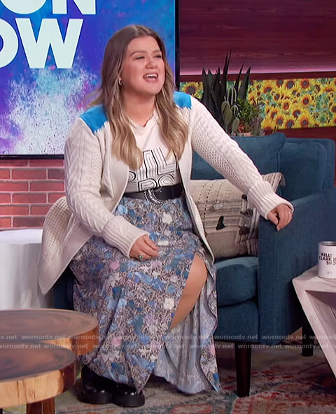 Kelly's floral skirt and white cardigan on The Kelly Clarkson Show