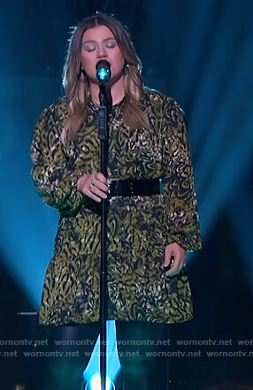 Kelly's green printed mini dress on The Kelly Clarkson Show